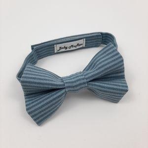 CHILD'S BOWTIE Blue Stripes Cotton Velcro Closure